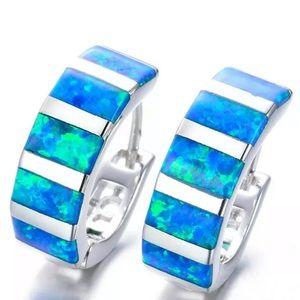 New Silver Blue Fire imitation Opal Hoop Earrings